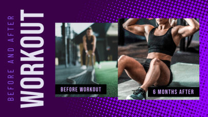 YouTube Thumbnail Template for a Workout Challenge Featuring Before & After Pictures 3642a