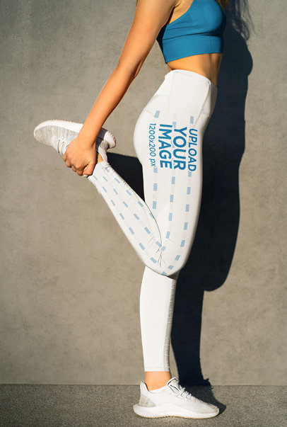Leggings Mockup of a Woman Stretching Her Leg Before Running m3789-r-el2