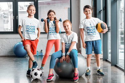 T-Shirt Mockup Featuring Four Kids at a Gym 46924-r-el2