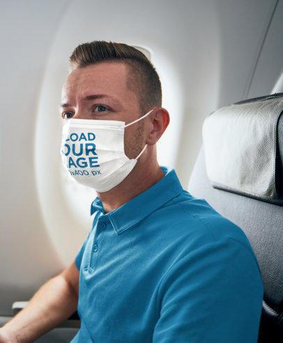 Face Mask Mockup of a Man on a Plane 41961-r-el2