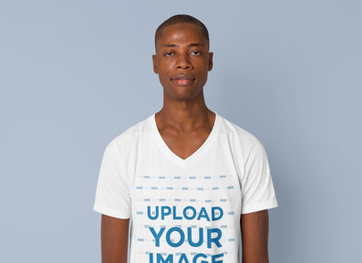 Mockup of a Man in a Plain Pose While Wearing a V-Neck Tee 40305-r-el2