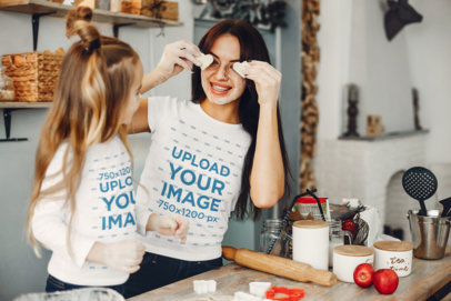 Long-Sleeve Tee & T-Shirt Mockup of a Mother Baking With Her Daughter 36373-r-el2