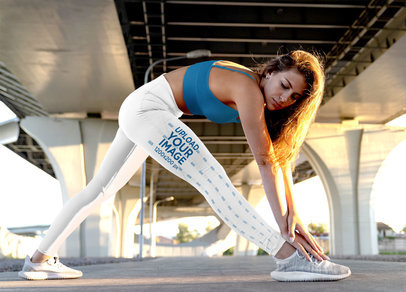 Side View Leggings Mockup Featuring a Woman Stretching Under a Bridge m3791-r-el2