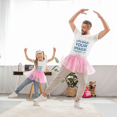 T-Shirt Mockup Featuring a Father and Daughter Dancing Ballet at Home 45740-r-el2