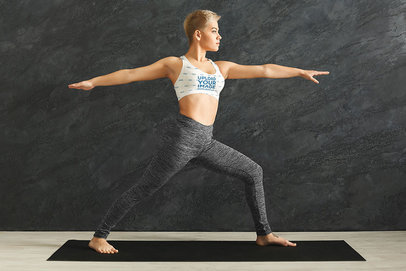 Sports Bra Mockup Featuring a Short-Haired Woman Doing Yoga m6520-r-el2