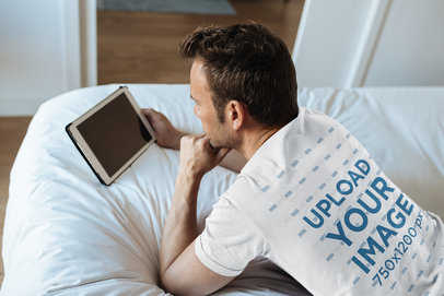 T-Shirt Mockup of a Man Relaxing in Bed 35194-r-el2