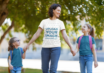 T-Shirt Mockup of a Proud Mom Taking Her Girls to School 44285-r-el2