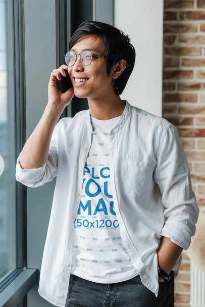 T-Shirt Mockup of a Man With Glasses Making a Phone Call M6771-r-el2