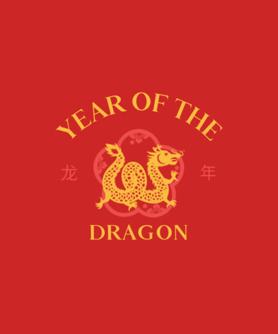 T-Shirt Design Template with a Year of the Dragon Graphic 3646b