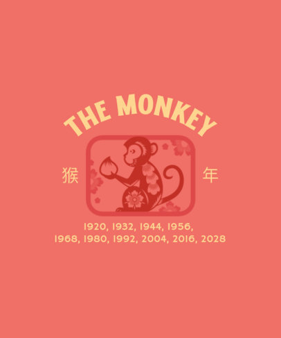 Chinese Zodiac-Inspired T-Shirt Design Template with a Monkey Icon 3646f
