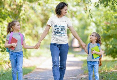 T-Shirt Mockup of a Happy Mom Taking Her Girls to School 44284-r-el2