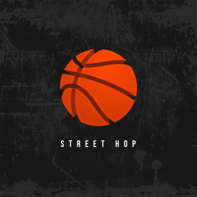 Sports Logo Template Featuring a Basketball Icon 4324a