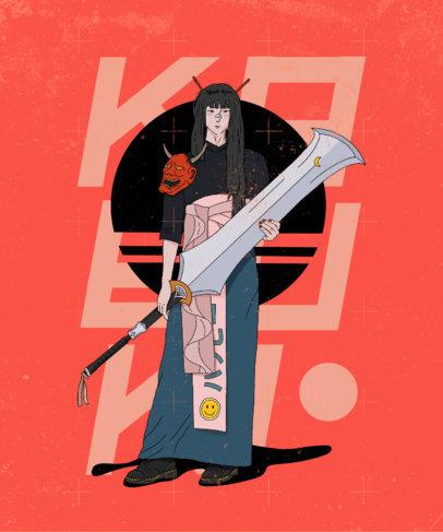 Anime T-Shirt Design Generator Featuring a Trendy Kabuki Girl 3649c