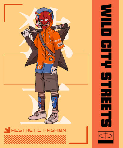 T-Shirt Design Maker Featuring a Modern Warrior Character in an Anime Style 3648h