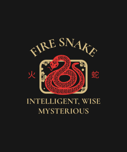 Chinese Zodiac-Inspired T-Shirt Design Template with a Snake Graphic 3646a