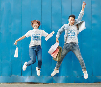 Tee Mockup of a Man and a Woman Celebrating After a Shopping Spree 46939-r-el2