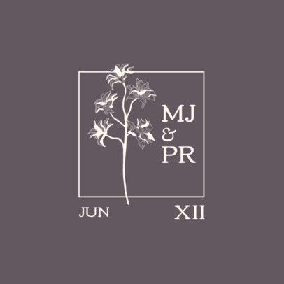 Wedding Monogram Logo Maker Featuring an Engraved Blossom 3654d-el1