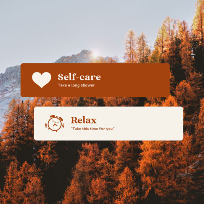 Instagram Post Design Template with a Self-Care-Themed Quote 3482e-el1