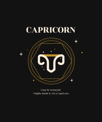 T-Shirt Design Template with Minimalist Zodiac-Inspired Graphics 3918-el1