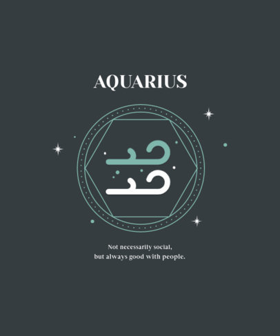 Minimalistic T-Shirt Design Template with a Quote About Aquarians 3918d-el1
