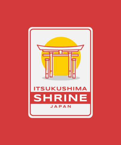 T-Shirt Design Template Featuring the Itsukushima Shrine 3331a-el1