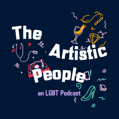 Podcast Cover Template for an Artsy LGBTQ Podcast 4320f