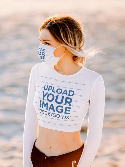 Crop Top Mockup of a Woman Wearing a Face Mask by the Beach 45050-r-el2