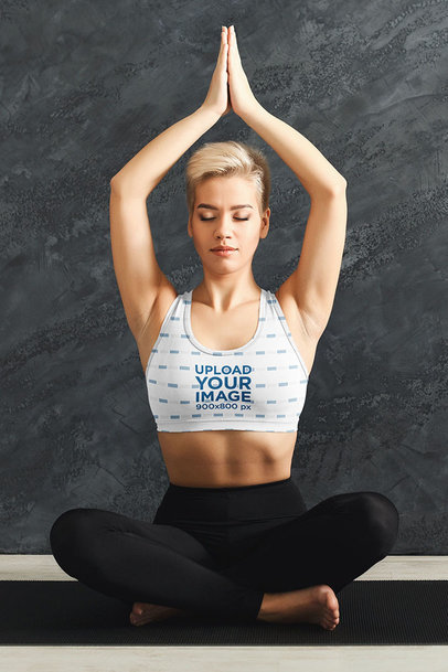 Sublimated Sports Bra Mockup of a Short-Haired Woman Meditating m6519-r-el2