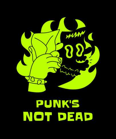 T-Shirt Design Template with an Illustrated Punk Hand Shadow Figure 3674d