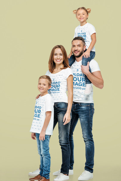 T-Shirt Mockup Featuring a Smiling Family of Four Posing at a Studio 44551-r-el2