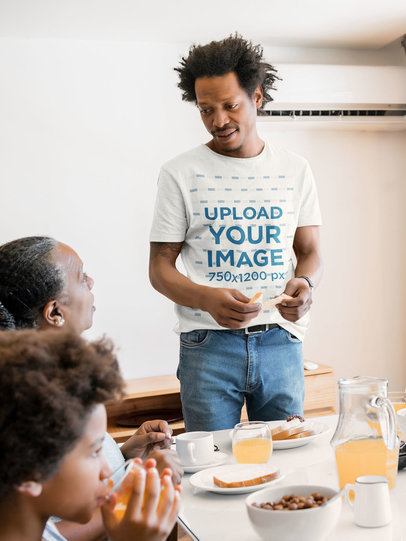 T-Shirt Mockup Featuring a Man at the Table with His Family 46856-r-el2