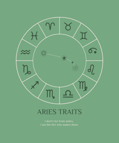 Astrology-Themed T-Shirt Design Creator with Aries Traits 3920e-el1