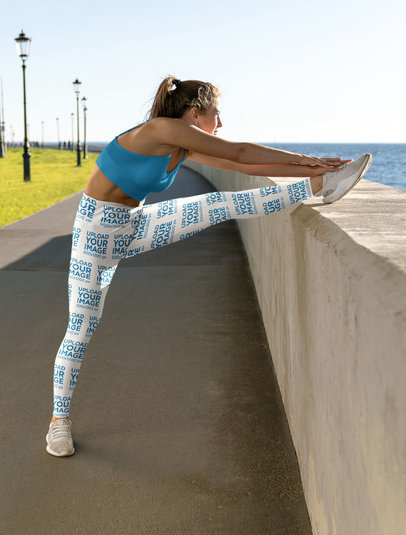Leggings Mockup Featuring a Serious Woman Stretching Her Leg m6804-r-el2