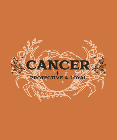 Illustrated T-Shirt Design Maker with a Zodiac Sign Graphic for Cancer 3922e-el1
