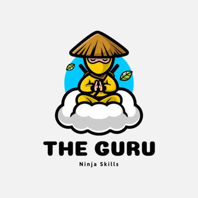 Fun Gaming Logo Maker with a Meditating Ninja Character 1289a-el1