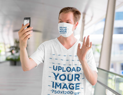 V-Neck Tee and Face Mask Mockup of a Man Doing a Video Call 44028-r-el2