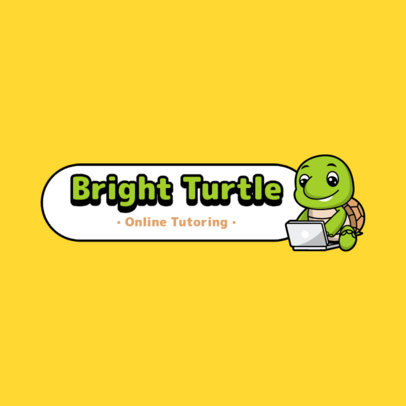 Logo Generator with a Happy Turtle for a Kids' Tutoring Service 3938c-el1