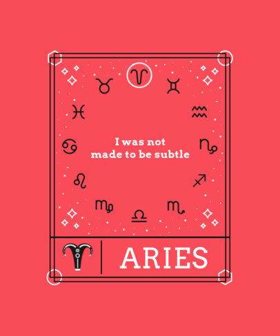 Astral Chart-Themed T-Shirt Design Maker with a Quote About Aries 3916a-el1