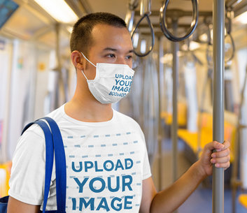 Mockup of a Man Wearing a Face Mask and a Tee While On the Subway 44386-r-el2