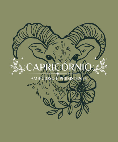 Quote T-Shirt Design Template with a Capricorn Illustration 3922c-el1