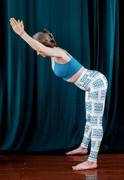Sublimated Leggings Mockup of a Middle-Aged Woman Doing Yoga m6719-r-el2