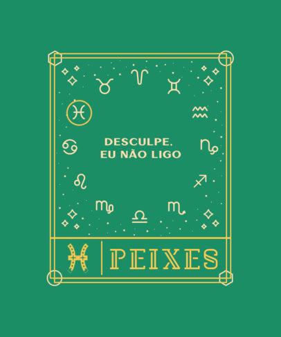 Piscean-Themed T-Shirt Design Maker with a Quote in Portuguese 3916d-el1