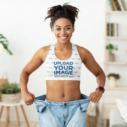 Sports Bra Mockup Featuring a Joyful Woman Showing Her Fitness Progress m6486-r-el2