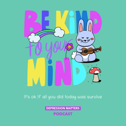 Mental Health Awareness-Themed Podcast Cover Template With Colorful Graphics 4332a