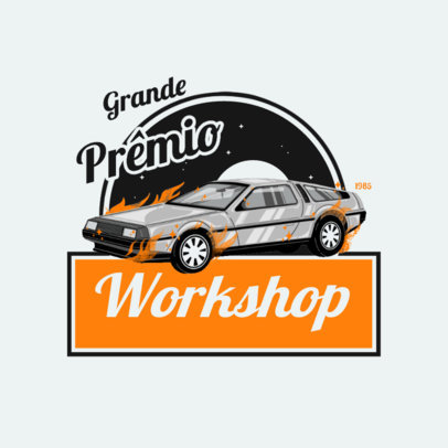 Car Workshop Logo Maker with an Illustration of a Delorean 4336c