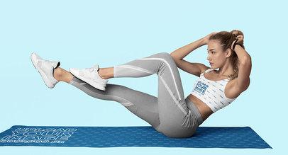 Sports Bra Mockup of a Woman Doing an Ab Workout m6507-r-el2