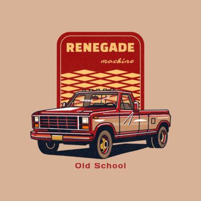 Automobile Workshop Logo Creator Featuring a Vintage Pick-Up Truck Illustration 4338h