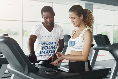 T-Shirt and Sports Bra Mockup of a Coach Helping out a Woman m6816-r-el2