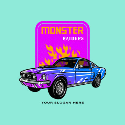 Racing Team Logo Maker Featuring a Muscle Car Illustration 4338e