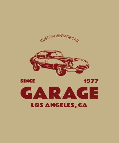 Vintage T-Shirt Design Template for a Muscle Cars Club 3682